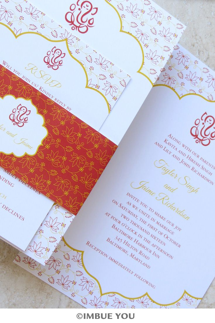Ganesh Indian wedding invitation in red and gold Imbue You