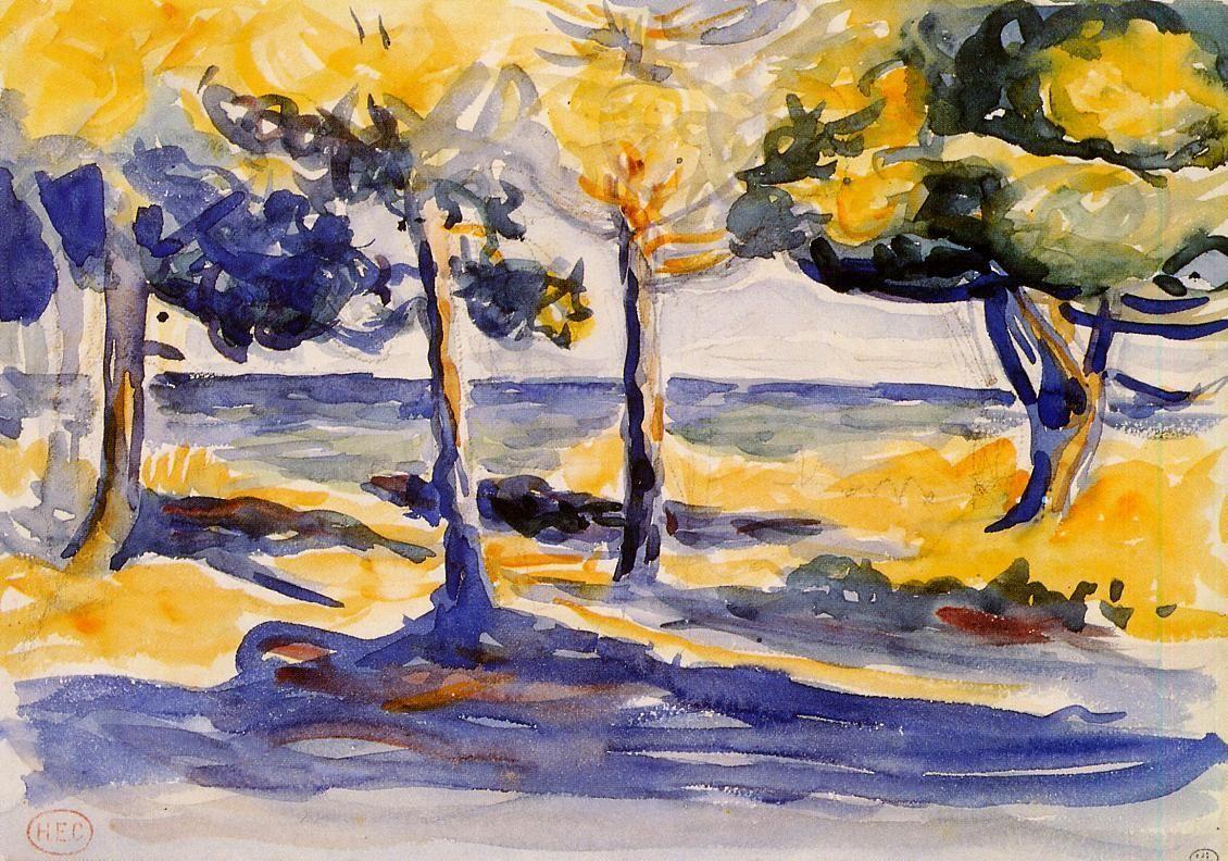 Trees by the Sea by Henri-Edmond Cross — Found via Artful for Mac — http://artfulmac.com