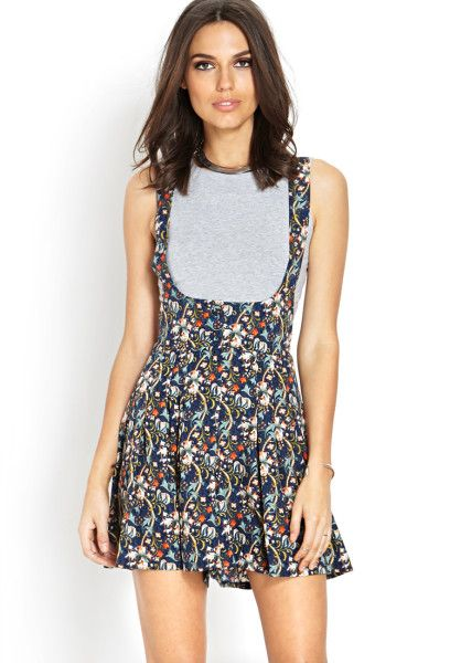 c08ac74fde Forever 21 Floral Crossback Overalls in Blue (Navy aqua)