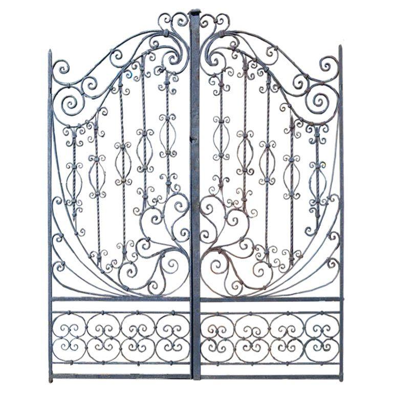 19th C Hand Forged Iron Gates Usa 19th Century Wonderfully