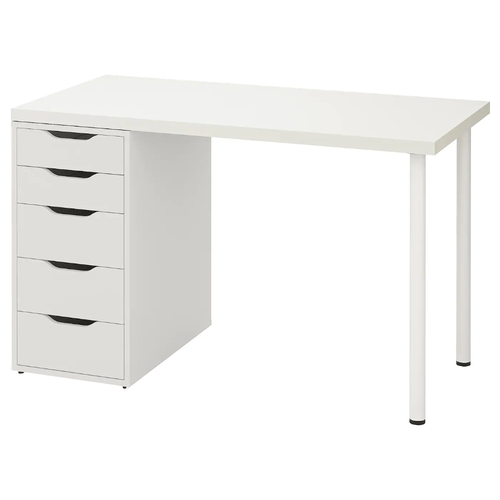 Linnmon Alex Stol Bialy 120x60 Cm Sprawdz Szczegoly Produktu Ikea In 2020 Ikea Drawer Unit Wall Shelf Unit