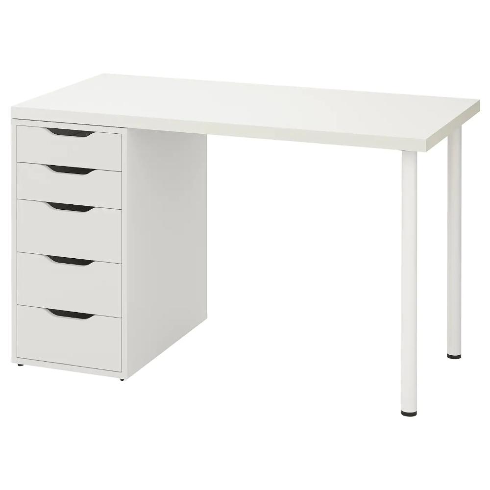 Linnmon Alex Stol Bialy 120x60 Cm Sprawdz Szczegoly Produktu Ikea In 2020 Ikea Drawer Unit Wall Shelf Unit