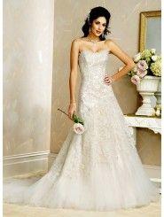 Tulle Slim Strapless Scoop Neckline A-line Wedding Dress