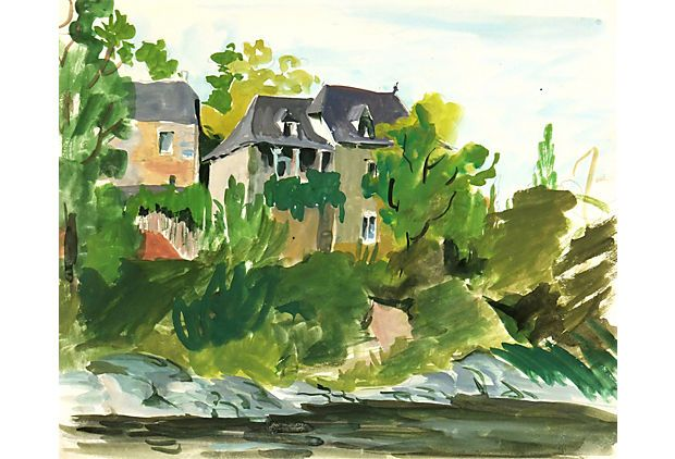 French Watercolor Of A Stately Home Perched Atop A Lushly