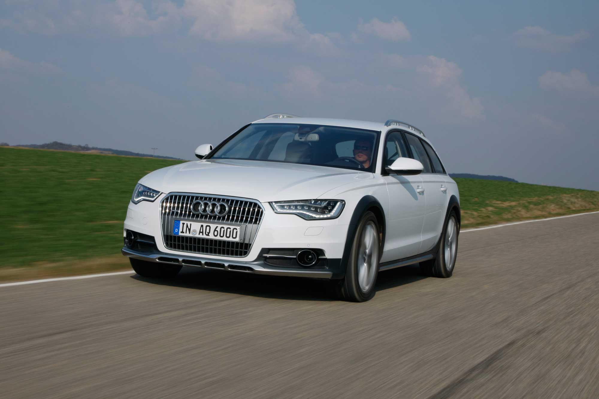 2013 Audi A6 Allroad Estate white car driving