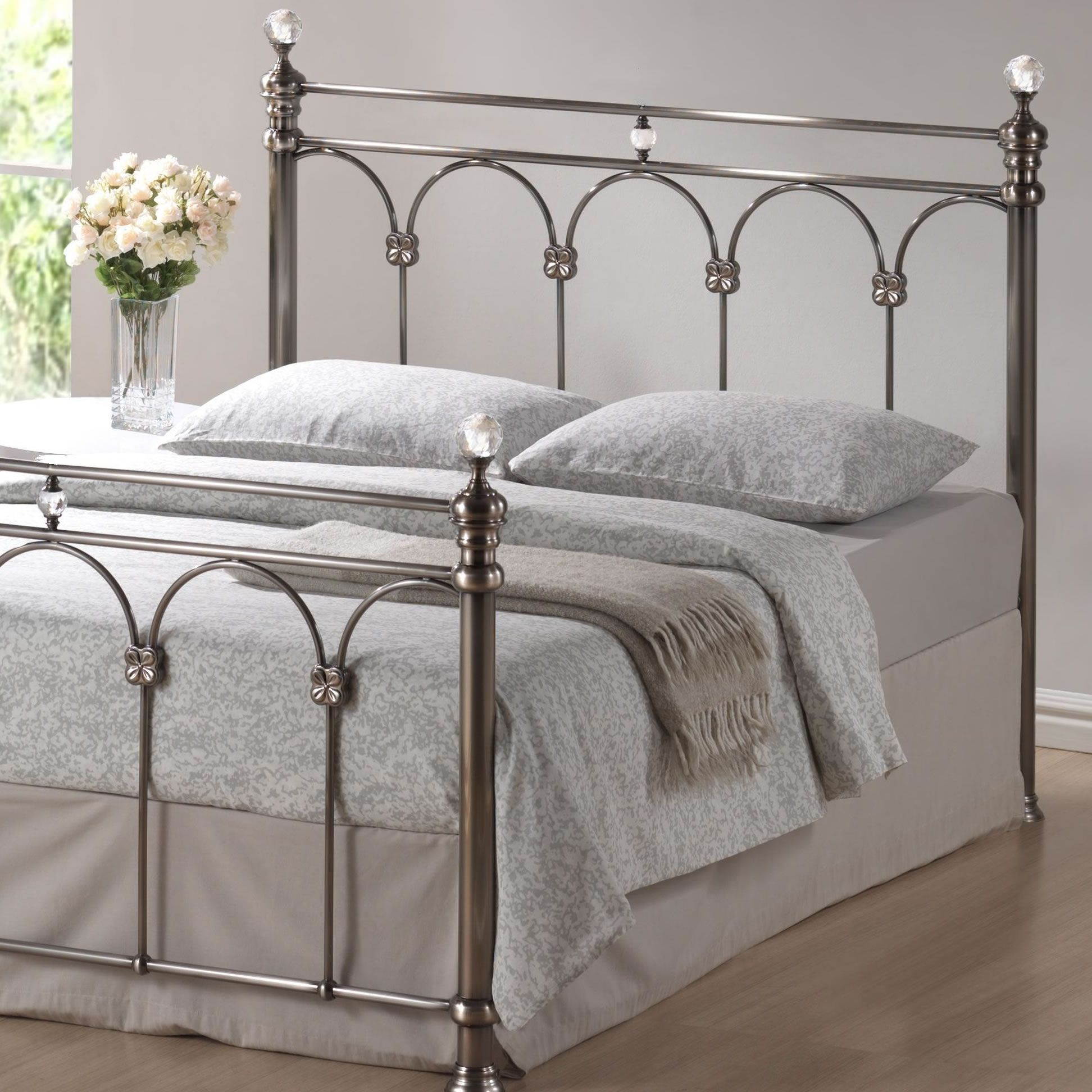 Best An Elegant Metal Bed Frame Featuring A Nickel Finish And 400 x 300