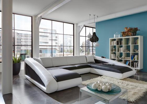 SAM® Couch schwarz weiß Wohnlandschaft CIAO 205 x 355 x 250 cm