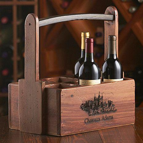 Personalized 6 Bottle Wooden Wine Caddy Wine Caddy Wine Wine Barrel
