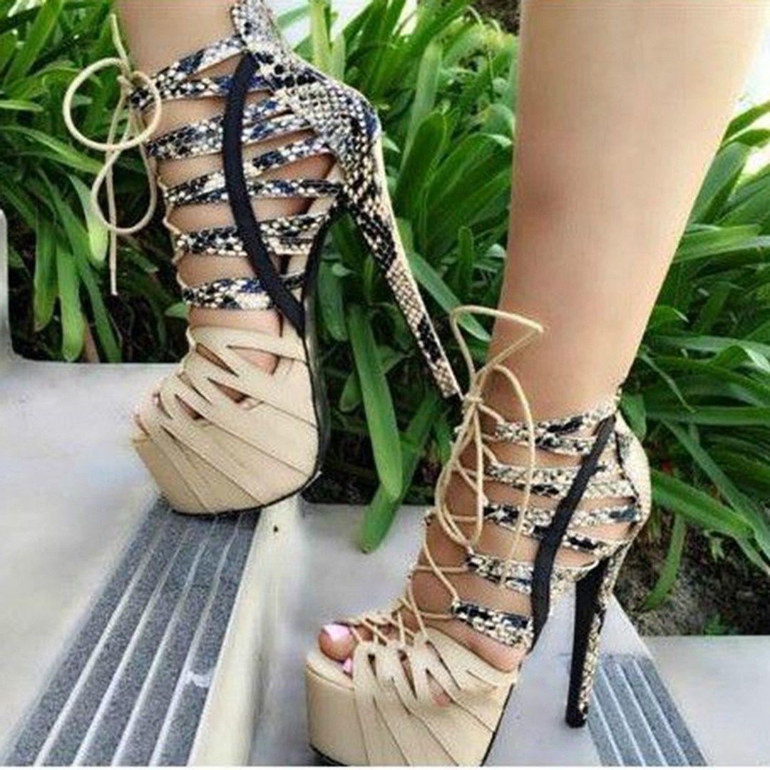 895632a2f9 Snake Effect Open Toe Platform Heels | Heels shoes | Shoes, Shoe ...