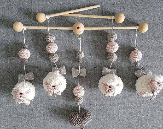 Amigurumi Sheep Baby Mobile : Baby mobile crochet cute counting sheep sheep baby mobile crib