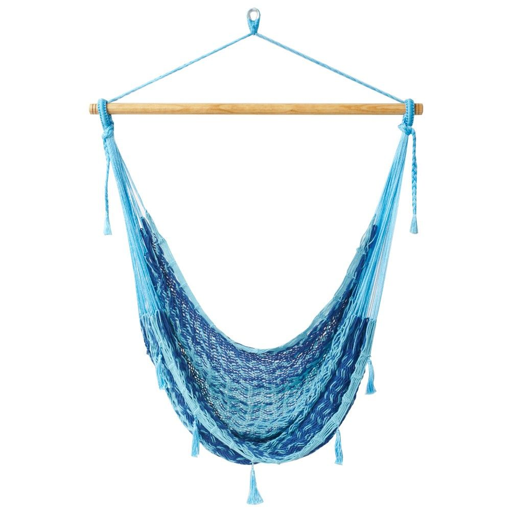 Large Navy and Baby Blue Mexican Hammock Chair - Outdoor Fiesta