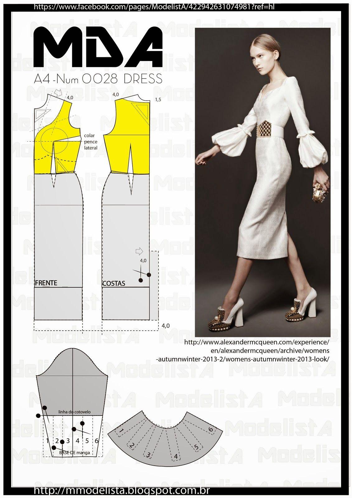 A4 NUM 0028 DRESS | Patrones, Costura y Molde
