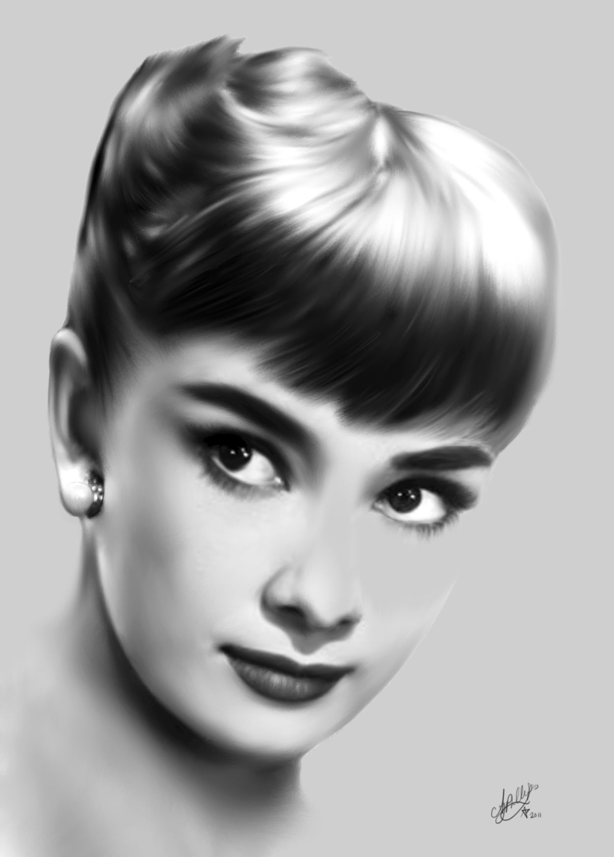 A portrait i did of audrey hepburn in pencil graphite and white pastel