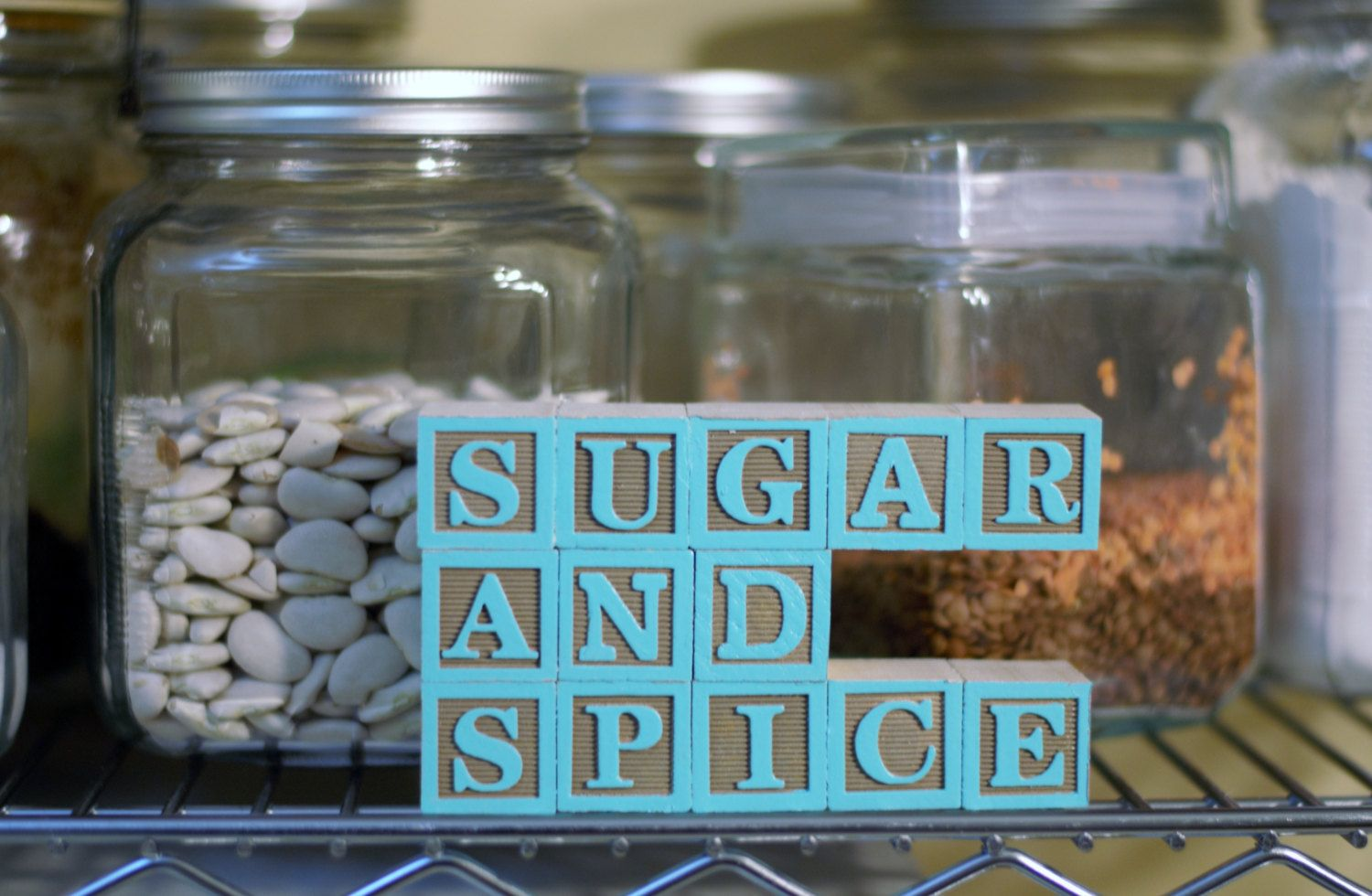 SUGAR AND SPICE (13 Wooden Letter Blocks), Kitchen Sign, Wooden Sign ...