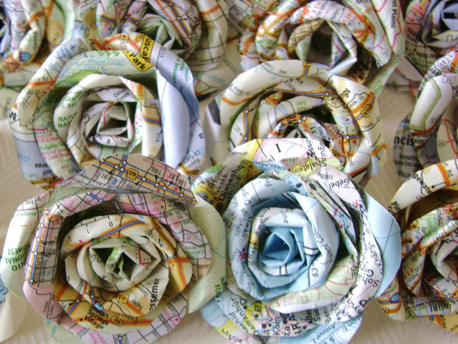 Atlas Decoration Vintage Atlas Map Paper Flowers Bulk Lot Of 25 Wedding