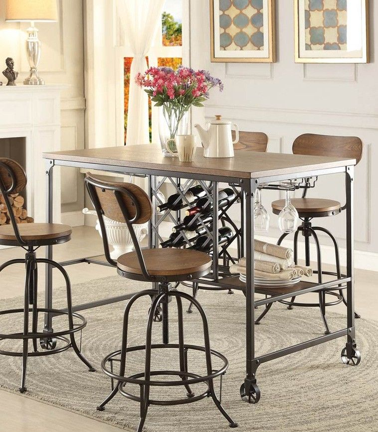 5429 36 Modern Industrial Metal Counter Height Dining Table Wine