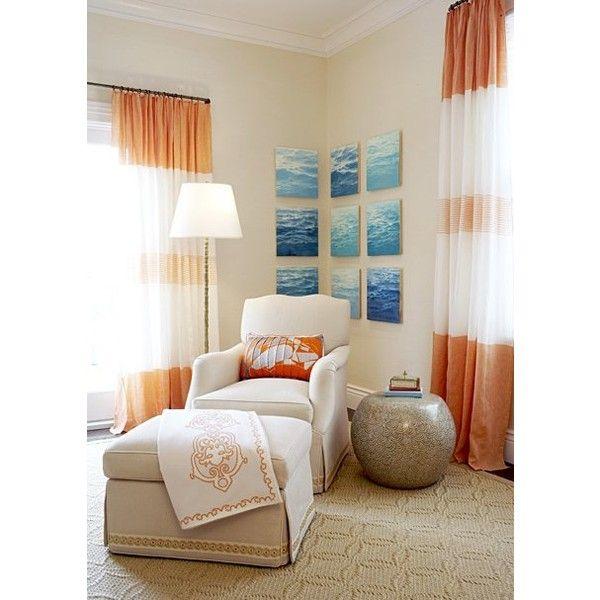 bedrooms - tan walls white orange drapes art tan wedding circles rug