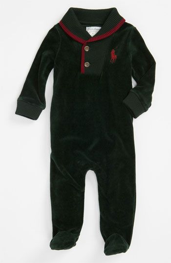 3b92f08d1 Free shipping and returns on Ralph Lauren Velour Footie (Infant) at  Nordstrom.com. Soft velour adds a plush touch to a cute footed bodysuit  with signature ...