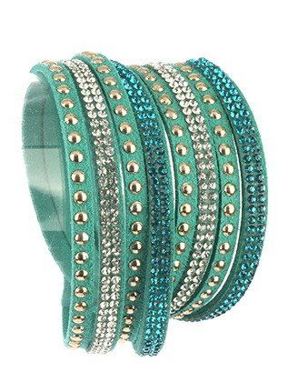 Bracelet-green mint multi strand wraparound