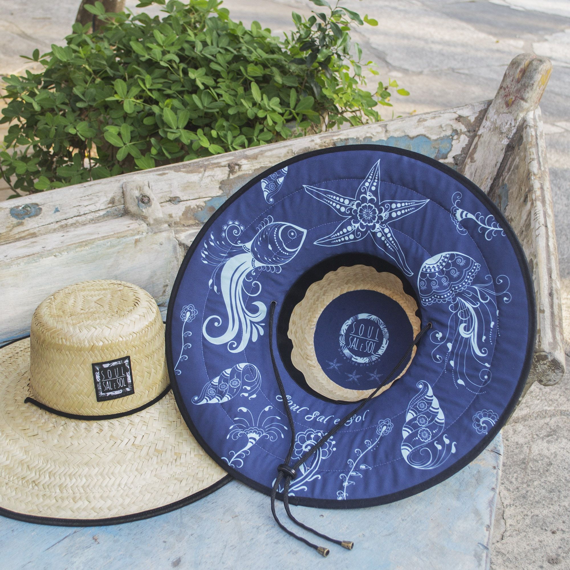 Chapéu de Palha Elementos Marinhos. Azul da cor do Mar!  cd894c42f38