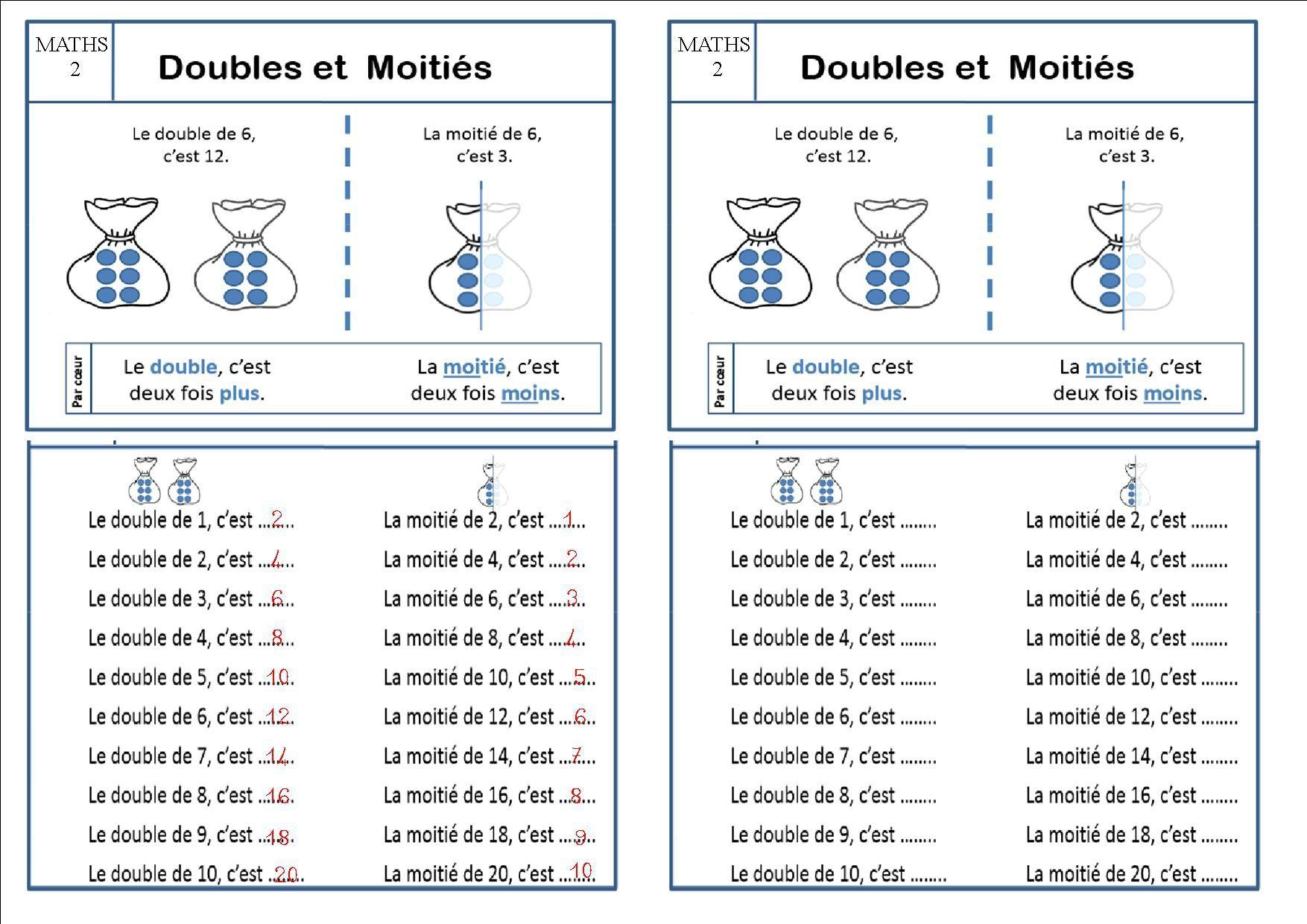 Maths 2 Ce1 Doubles Et Moitiés La Classe Des Ce De Villebois