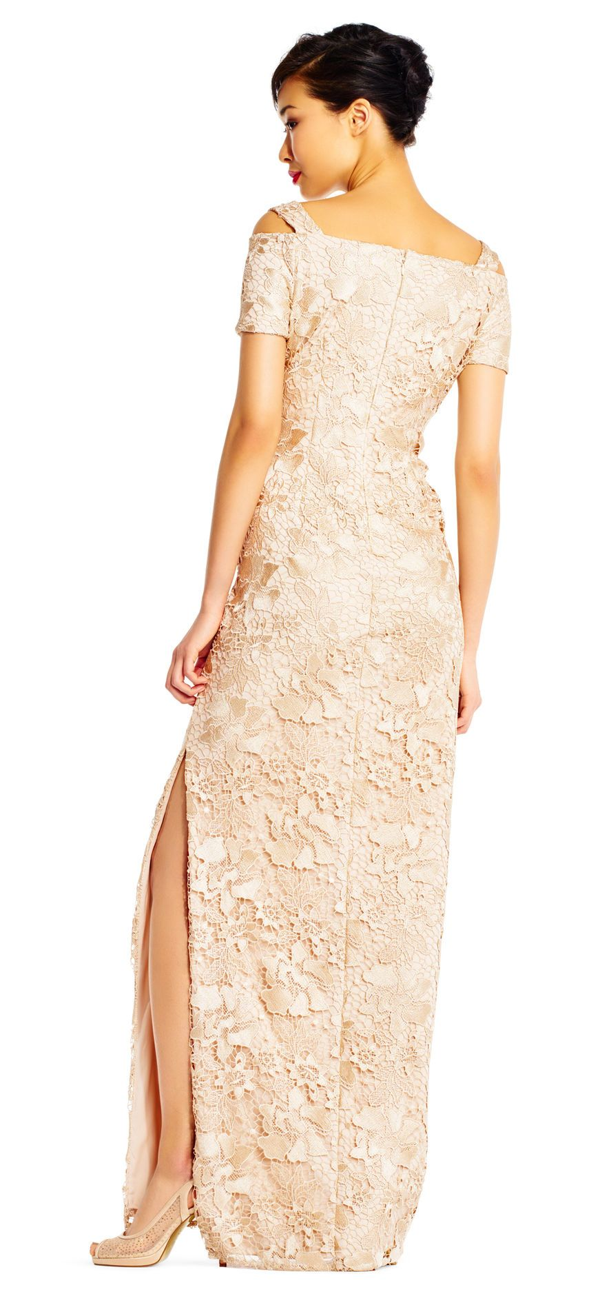 Adrianna Papell Lace Column Dress with Cold Shoulder