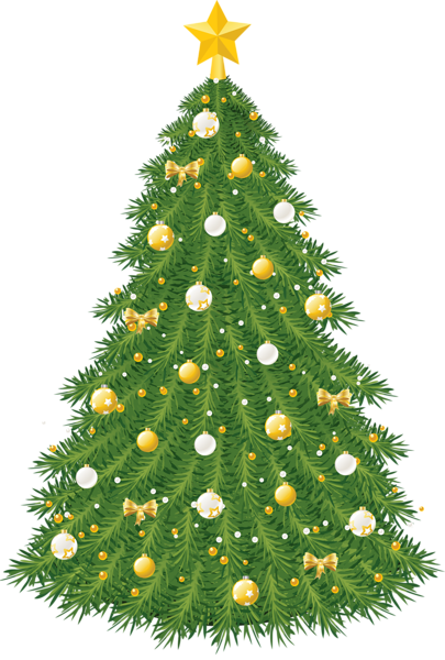 Large Transparent Christmas Tree With Gold And White Ornaments Christmas Tree Clipart Real Christmas Tree Christmas Paintings