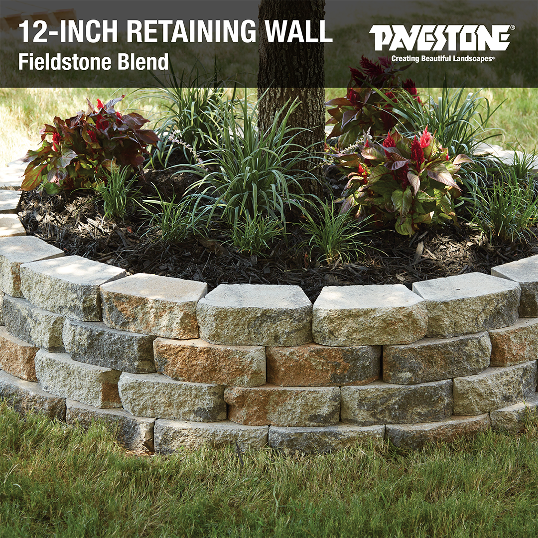 12inch Retaining Wall Block In Fieldstone Blend Pavestoneco 12inchwall Gardenwall Landscapewall Treering Garden Wall Retaining Wall Blocks Retaining Wall