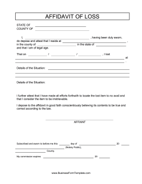 Affidavit Of Facts Template Entrancing Affadavit Of Loss This Free Printable Affidavit Of Loss Can Be Used .