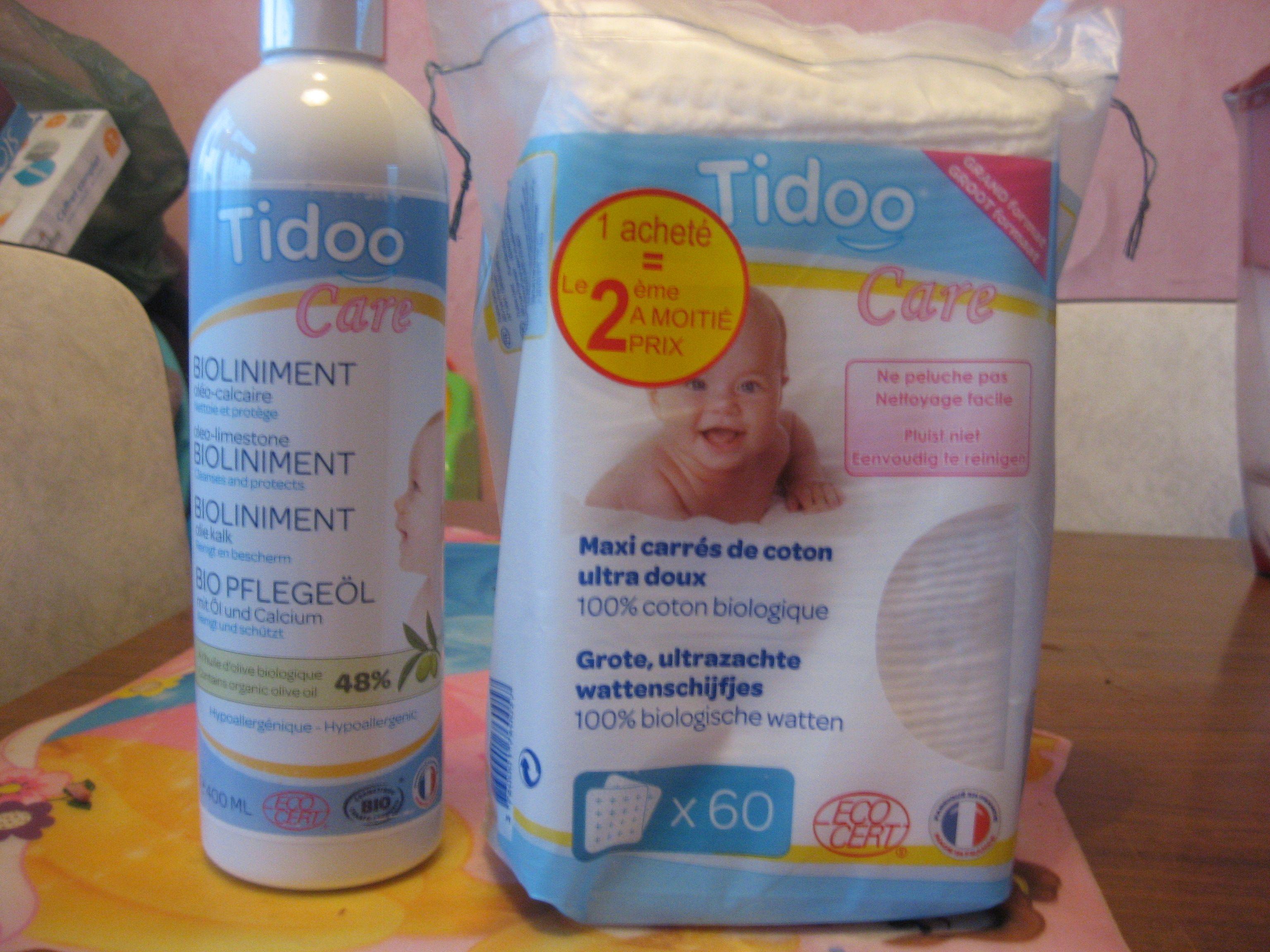 Ensemble Tidoo care Liniment oléo calcaire + carre de coton 14,85 euros