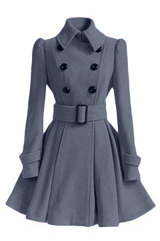 Women's Chic Belt Long Sleeve Winter Coat Dress   Coats, Winter ...