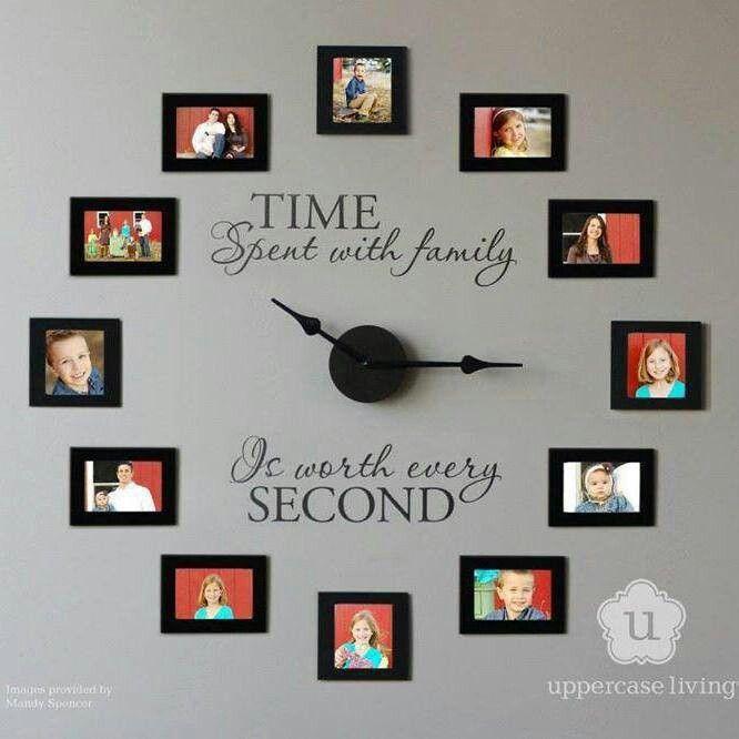 Pin By Matthew Sias On Home Diy Clock Wall Family Photo Wall Photo Wall Clocks
