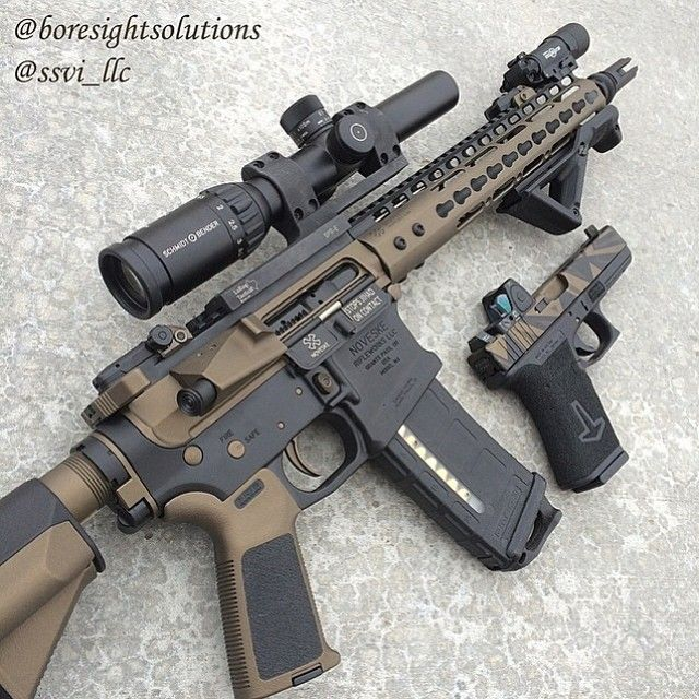 Tan and black AR15 with VLTOR upper and KEYMOD hand guard. Camo tan slide Glock.