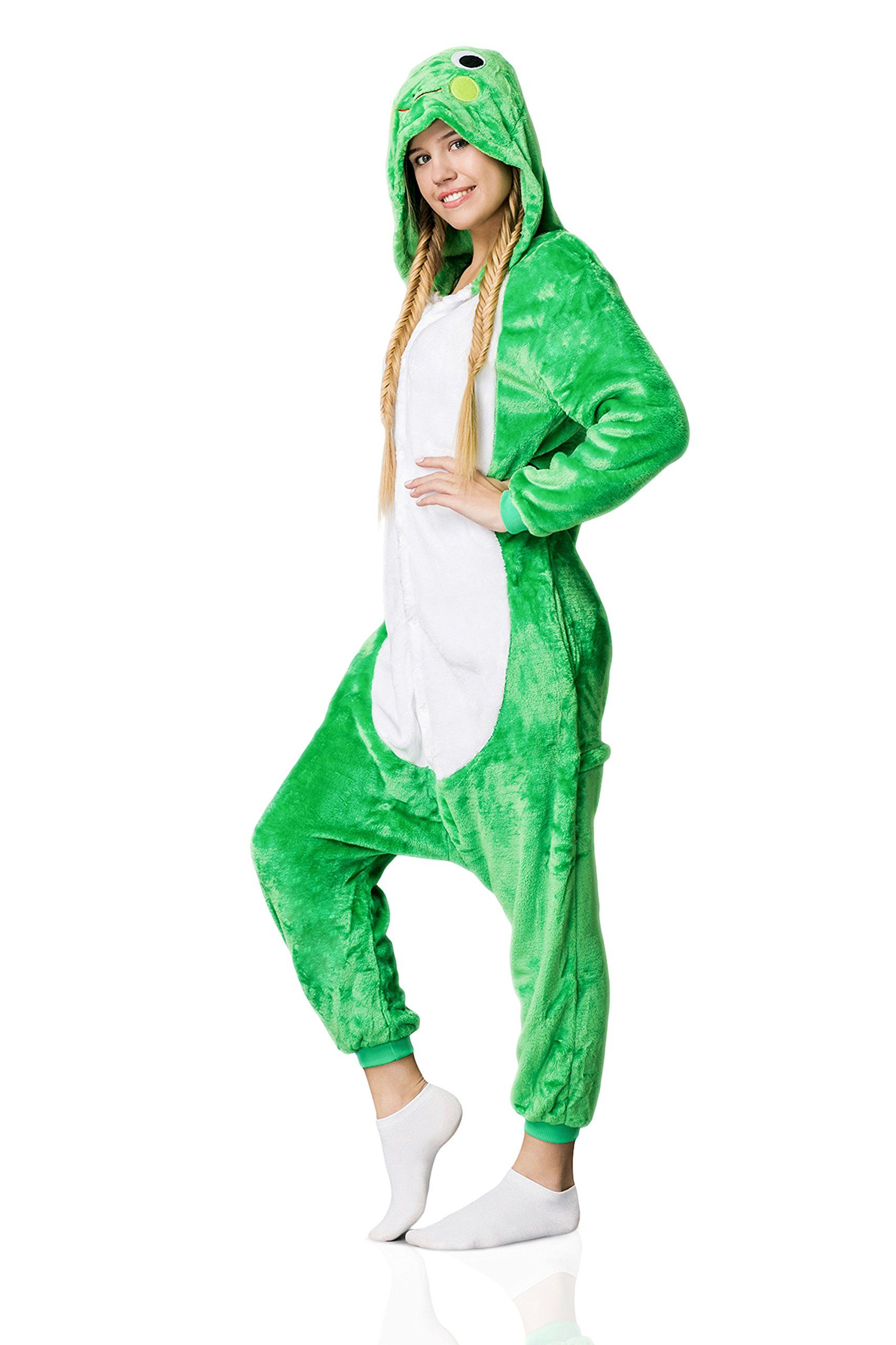 164e05aac745 Nothing But Love Adult Frog Onesie Pajamas Kigurumi Animal Cosplay Costume  One Piece Fleece Pjs XL Green White     Check this remarkable item by  mosting ...