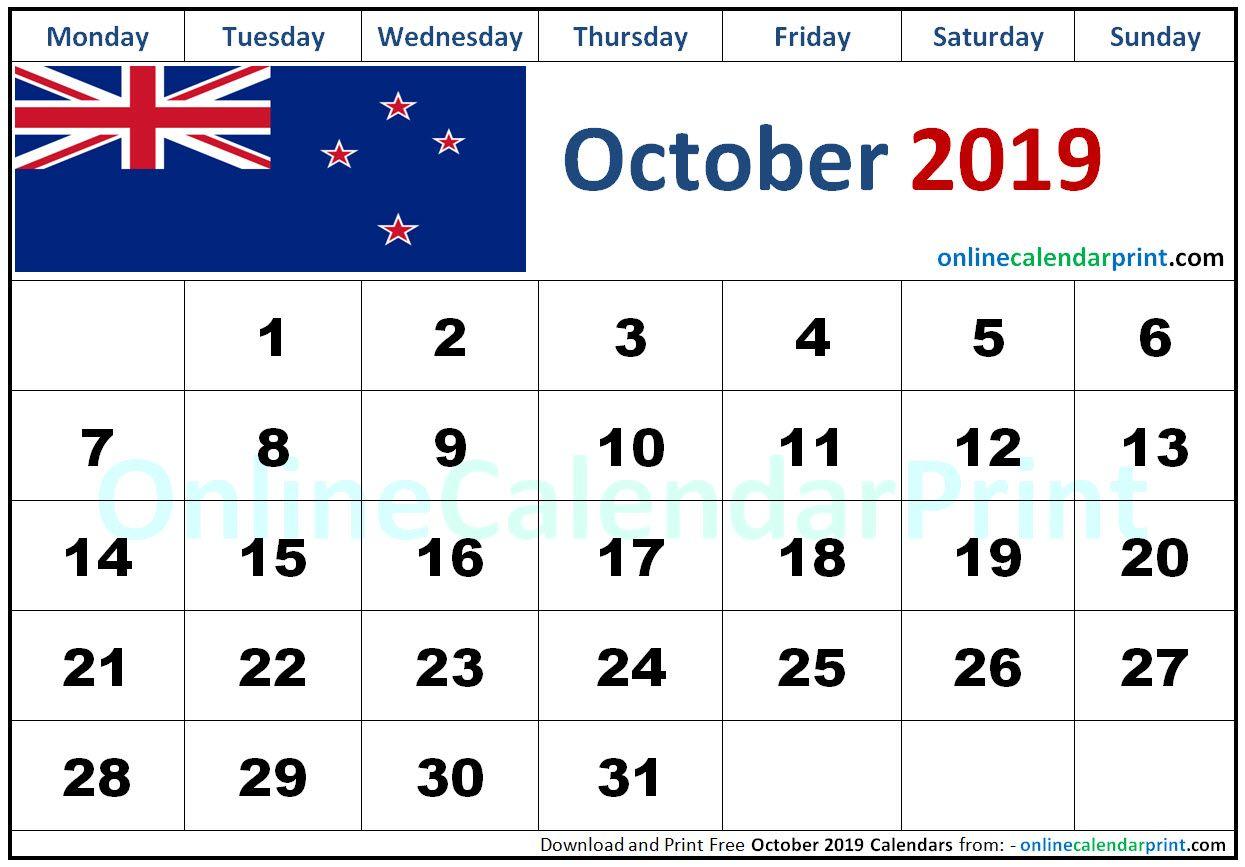October 2019 Calendar Nz Printable Calendar 2019 Calendar Calendar