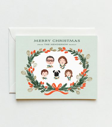 Customized Holiday Cards Illustrated Holiday Cards Family