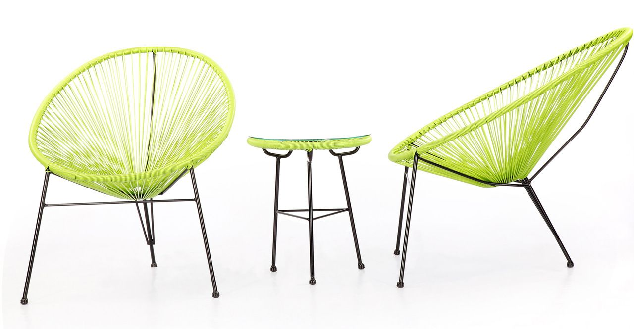Acapulco Chairs Table 3pc Lime Green Wicker Patio Chairs Plastic Outdoor Furniture Plastic Patio Chairs