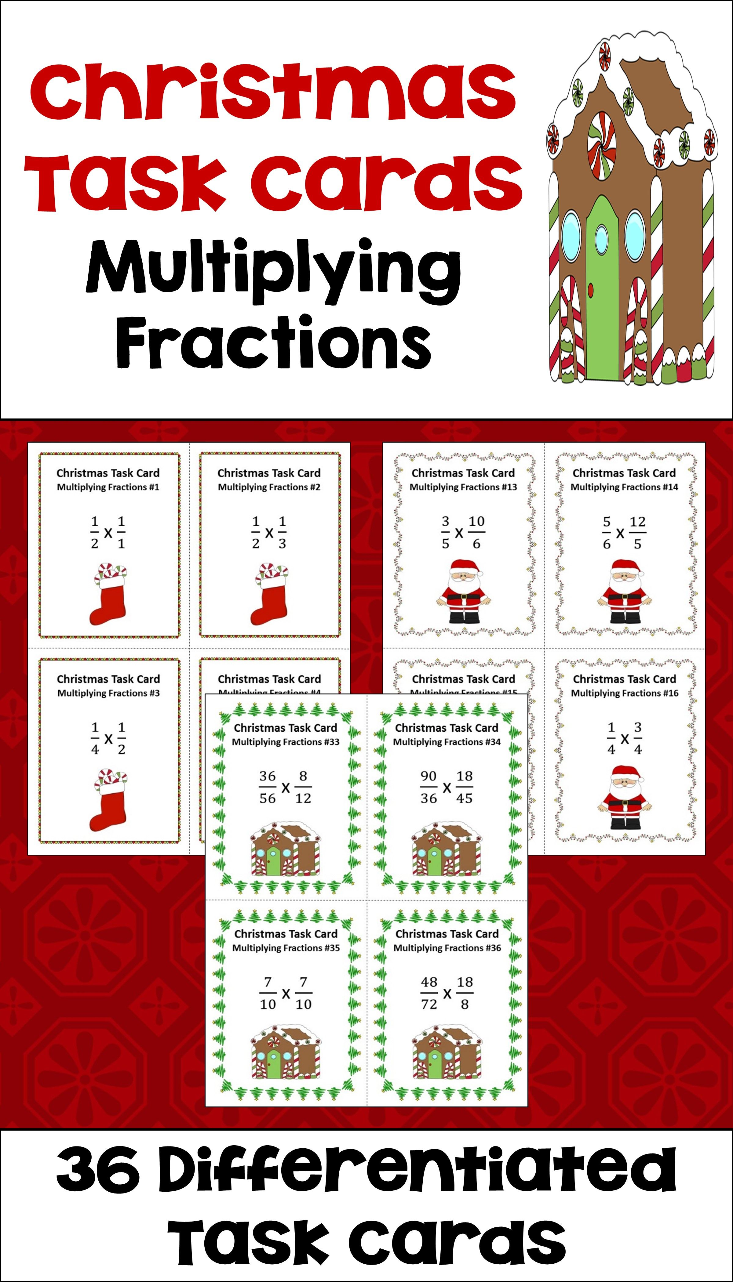 Christmas Multiplying Fractions Task Cards