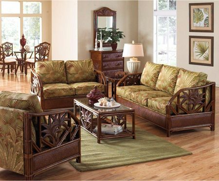 Cancun Palm Wicker Living Room Set And Individual Pieces  Cancun Entrancing Living Rooms Sets Design Ideas