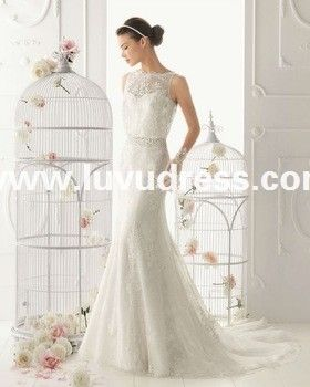 white open back lace long trail simple plain high round neck lace mermaid mermaid wedding dress