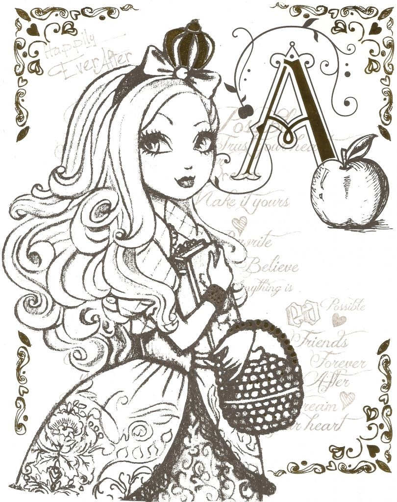 Printable coloring pages ever after high - Beautiful Princess Of Ever After High Printable Coloring Sheets
