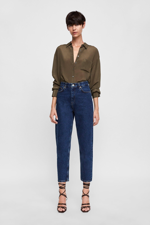 Jeans Zara Stone Woman Mom Blue New FJlKc1