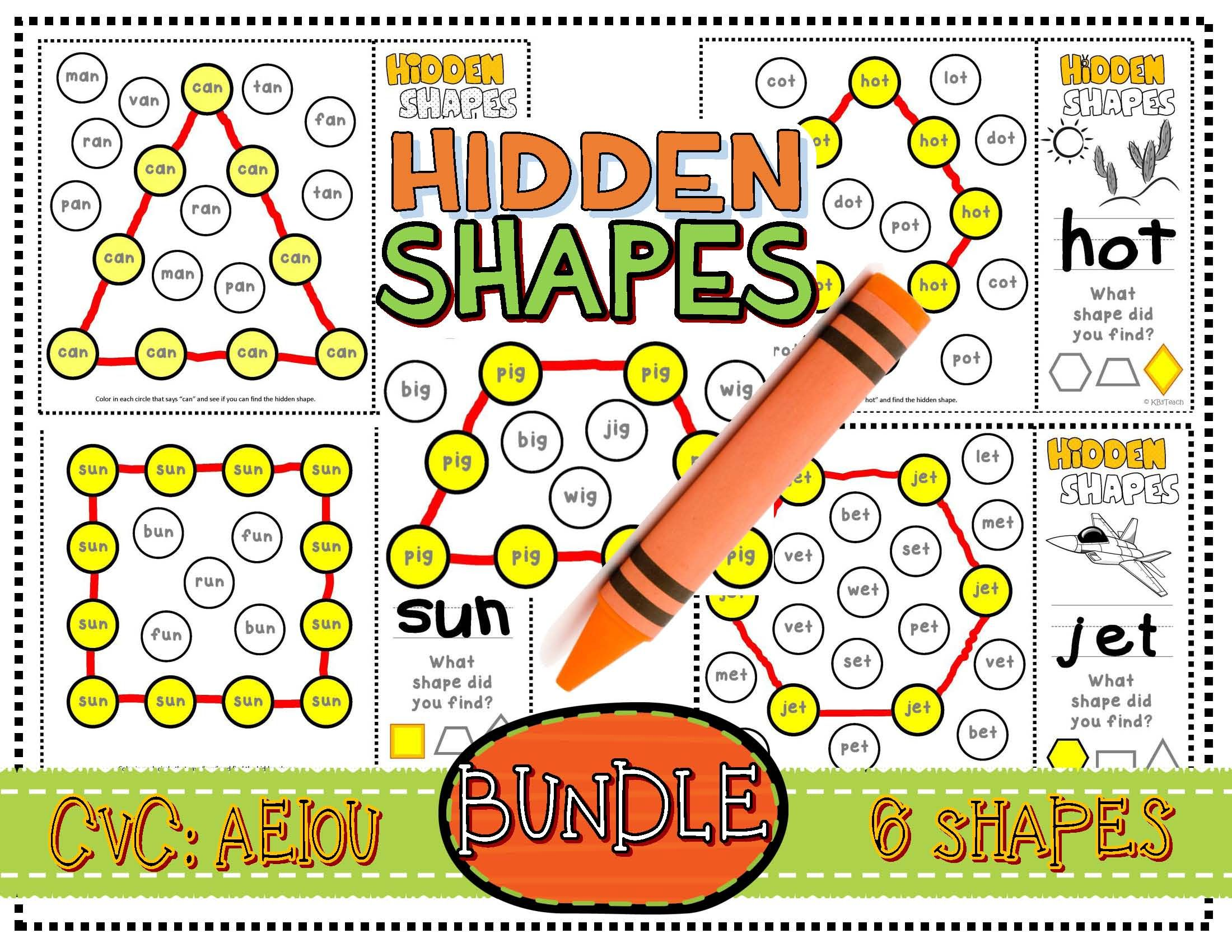 Shapes: CVC Mystery Shapes BUNDLE (Phonics + Geometric
