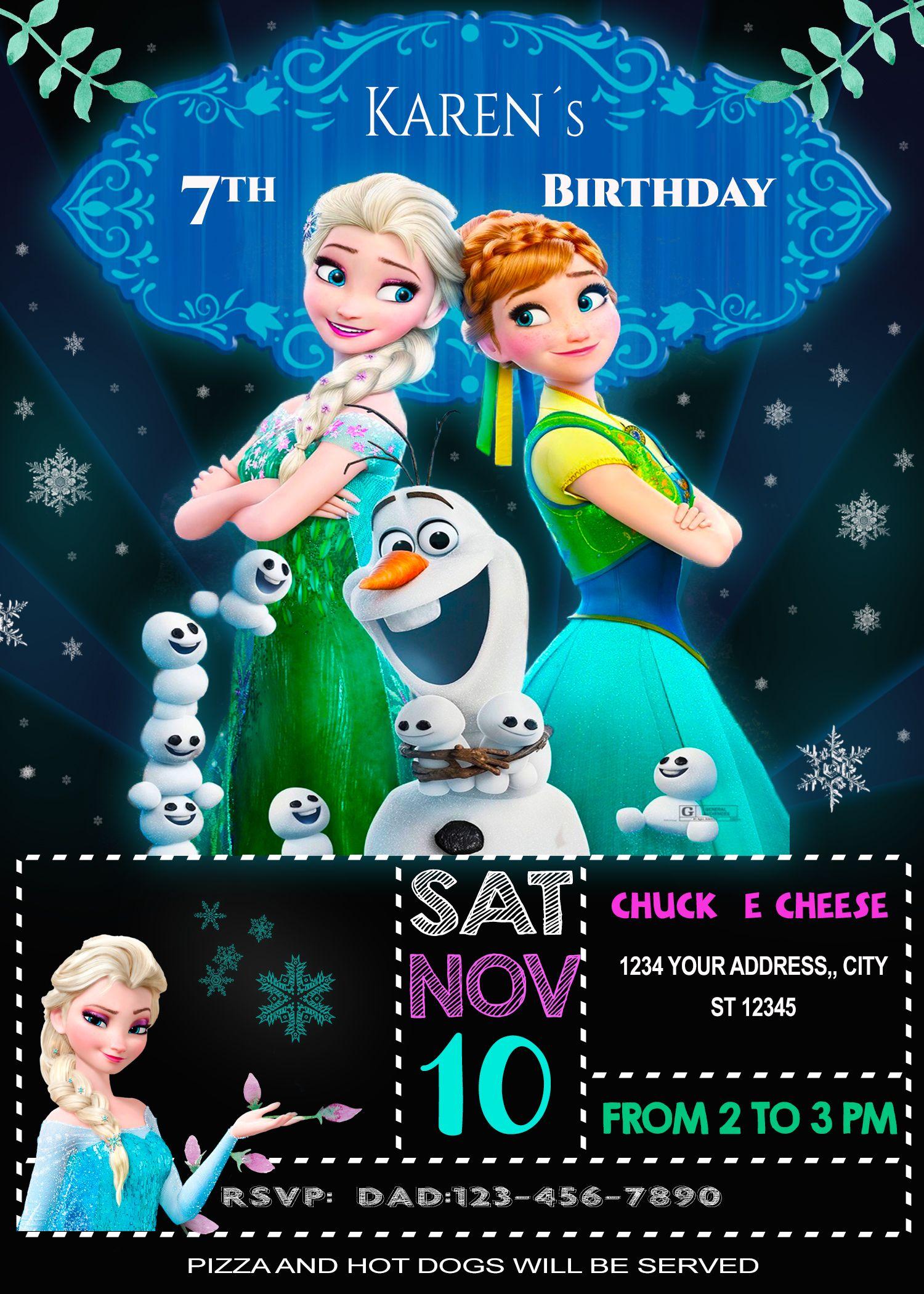 Frozen Invitation For Girls Customizable Digital Birthday