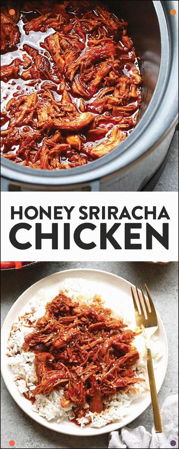 All You Need Are Five Ingredients To Make This Delicious, Clean-Eating, Slow Cooker Honey Sriracha Chicken That's Made With Real Food. #Chicken #Shredded #Srirachachicken #Dinner