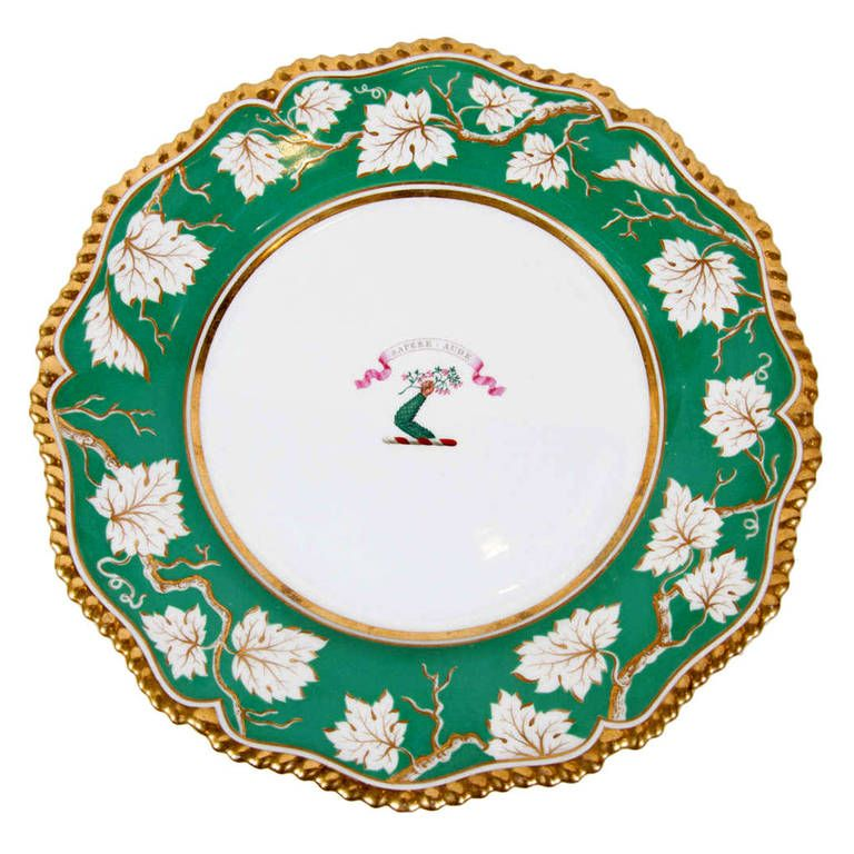 Pair of Worcester Armorial Deep Dishes with Green Border and Gadrooned Edge  sc 1 st  Pinterest & Pair of Worcester Armorial Deep Dishes with Green Border and ...