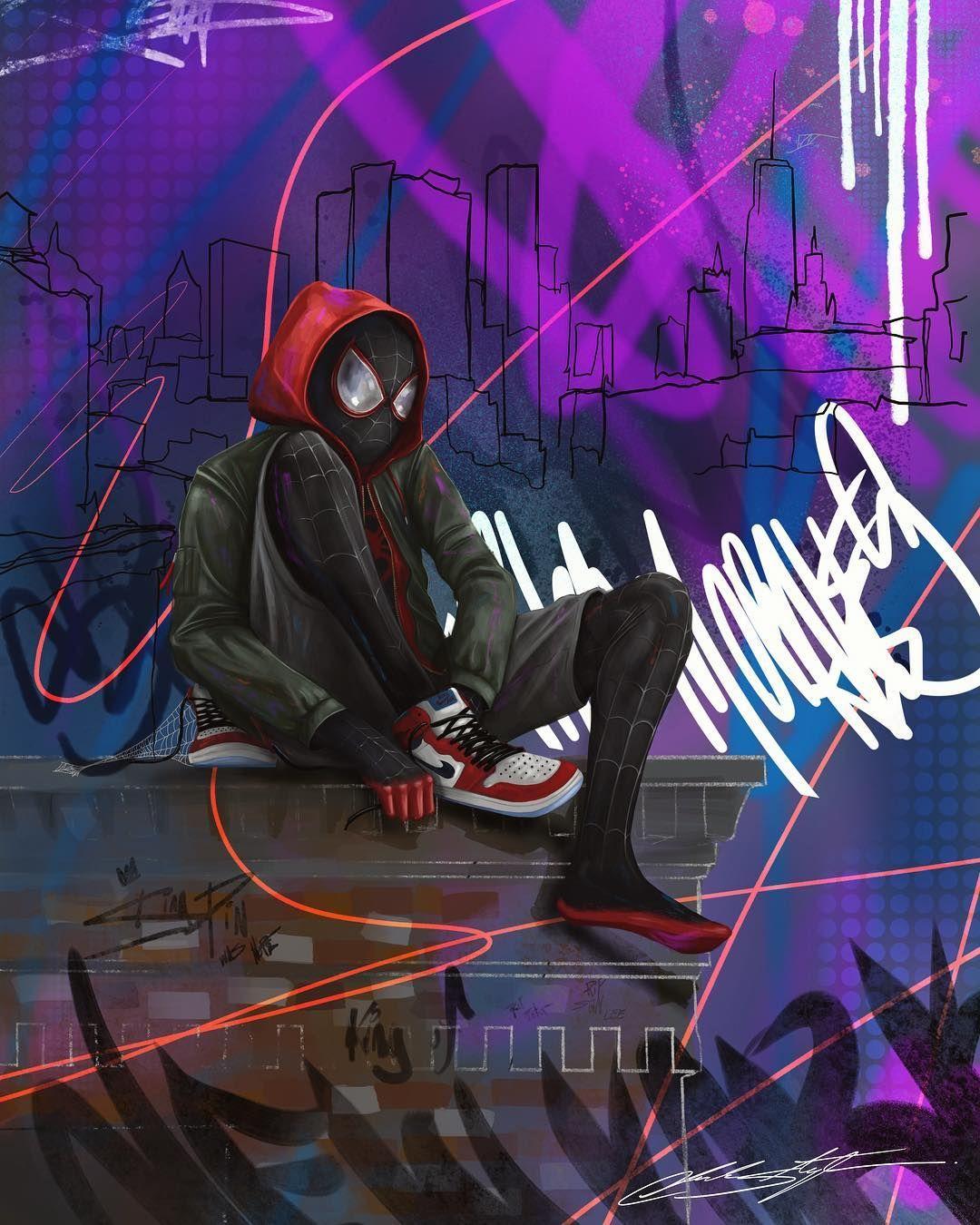 SpiderMan Miles Morales Rooftop Batman wallpaper