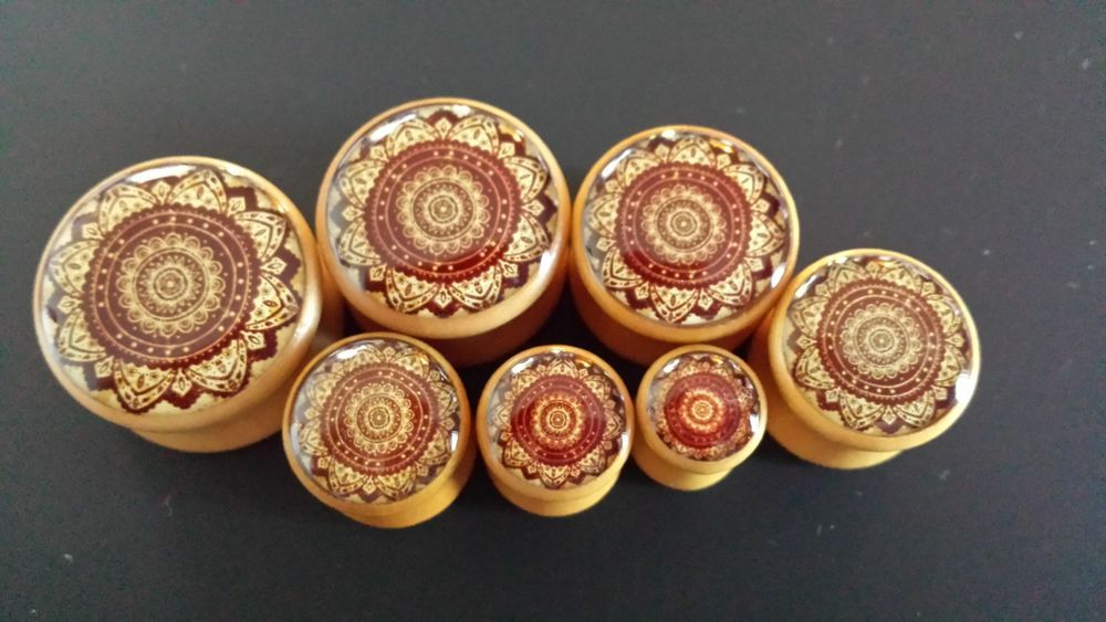 Details about Wood plugs PAIR 2 Mandala flower gauge