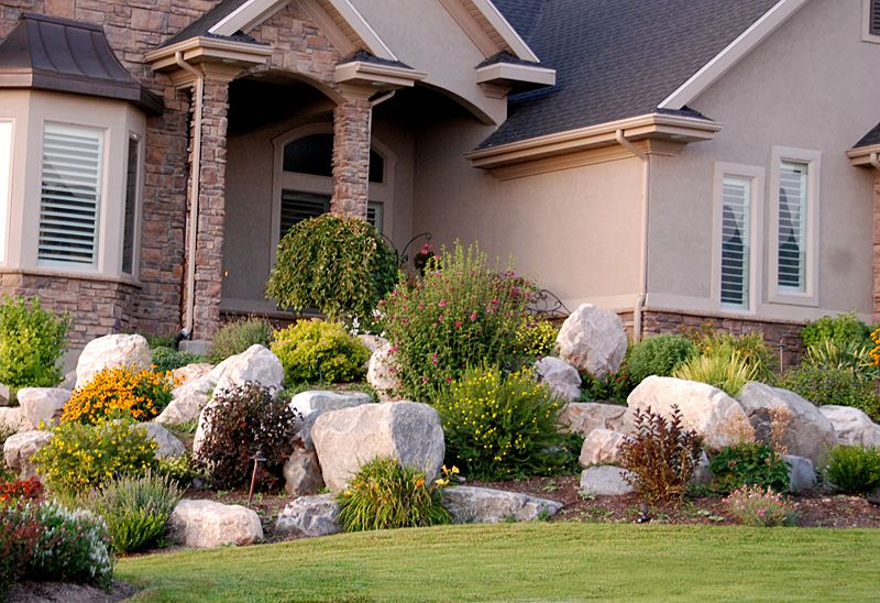 incorporate big rocks in front