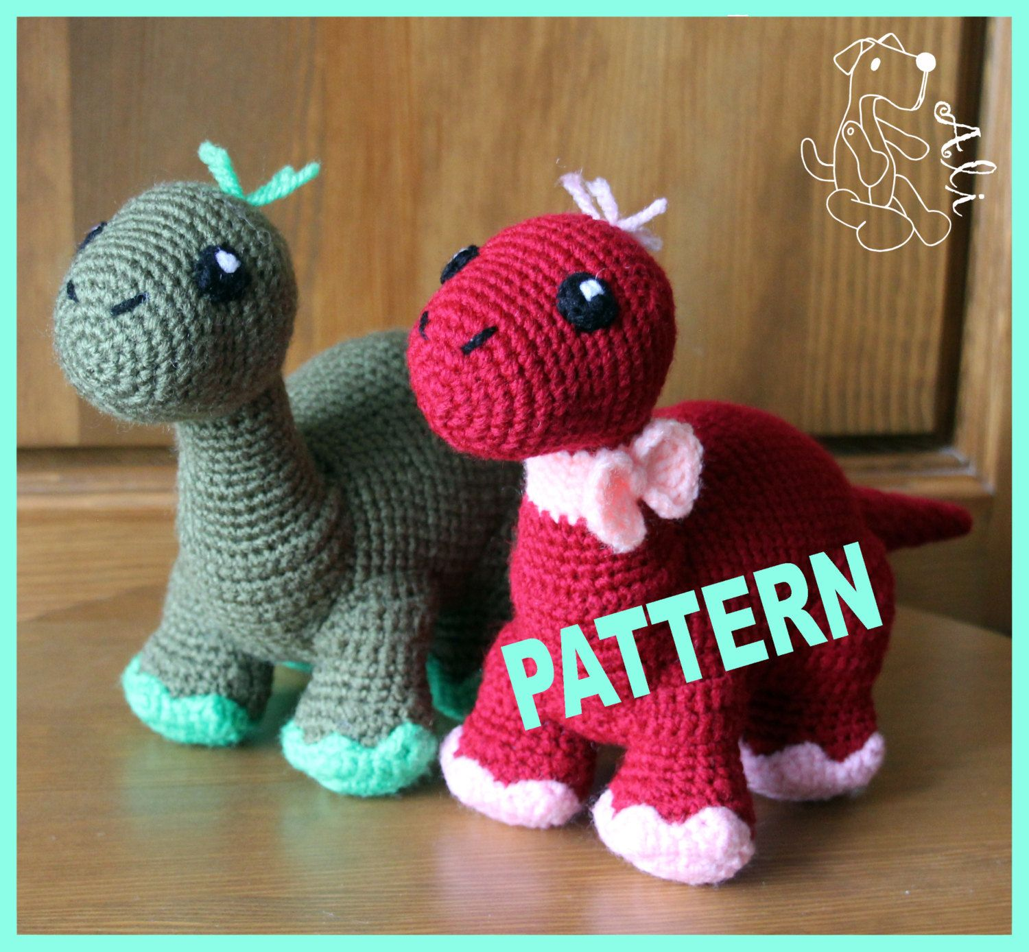 Crochet dinosaur - Pattern in PDF #crochetdinosaurpatterns
